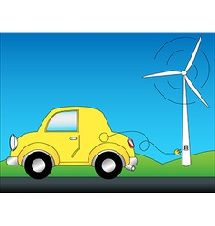 Eco car and windturbine vector