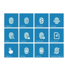 Fingerprint icons on blue background vector