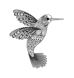 Zentangle stylized black hummingbird hand drawn vector