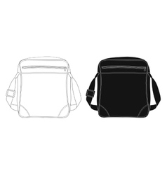Shoulder bag contour lines silhouette vector