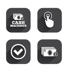 Atm cash machine withdrawal icons vector