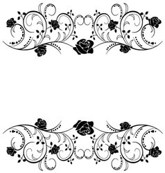 Flags with roses frame vector