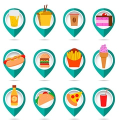 Fast food icons with map marks vector