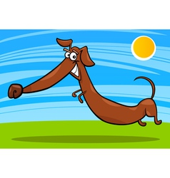 Cartoon happy dachshund dog vector