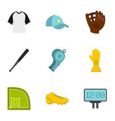 baseball championship icons set flat style vector image