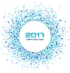 Blue circle new year 2017 frame white background vector