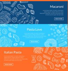 contoured hand drawn pasta horizontal vector image