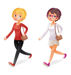 Cute fashion girl walking character isolated icon vector