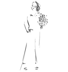 Fashion sketch cartoon models girls with flowers vector