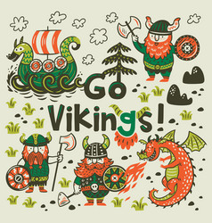 go vikings motivation card cute cartoon vector image vector image