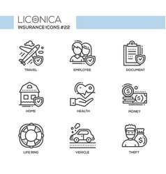 Insurance - monochromatic modern single line icons vector