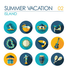 island beach flat icon set summer vacation vector image vector image