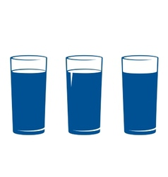 isolated water glass set vector image vector image