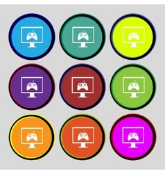 Joystick and monitor sign icon Video game symbol vector image