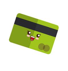 Kawaii credit card icon vector