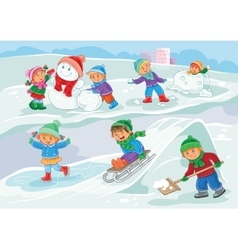 little children playing vector image vector image