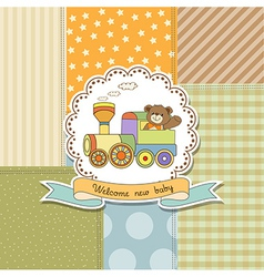 new baby announcement card with train toy vector image