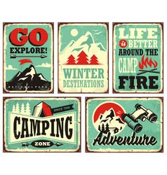 Outdoor activities promotional set of posters vector