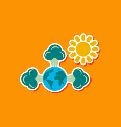 Paper sticker on stylish background of earth vector