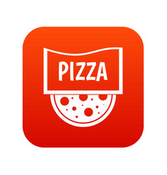 pizza badge or signboard icon digital red vector image vector image