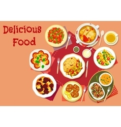 Popular dishes for lunch menu icon for food design vector