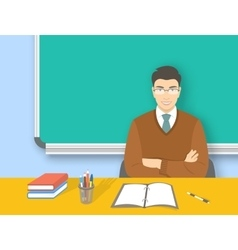 School teacher asian man at desk flat education vector