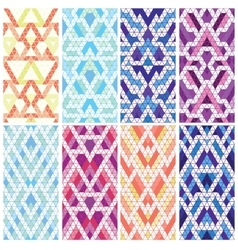 Set of eight patterns vector image vector image