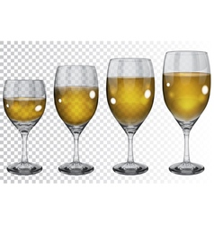 Set of transparent glass goblets with wine vector