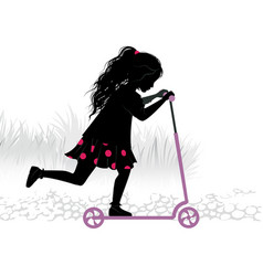 silhouette of little girl on kick-scooter vector image vector image
