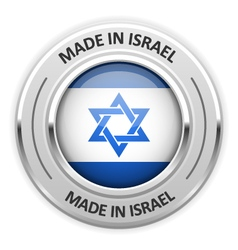 Silver medal made in israel with flag vector