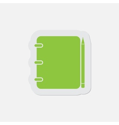 Simple green icon - binding notepad and pencil vector