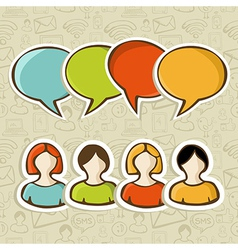 Social media people connection over pattern vector image vector image