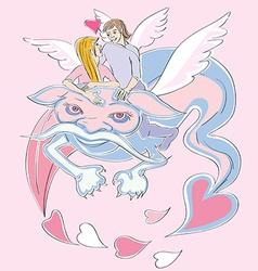 Valentine love dragon vector image vector image