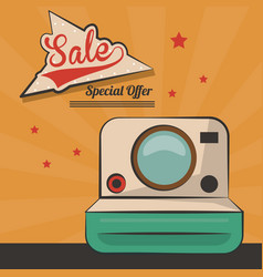 vintage card sale special offer device retro vector image