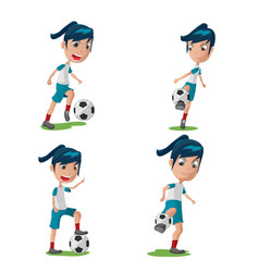 Woman soccer player character pose set vector