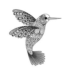 Zentangle stylized black Hummingbird Hand Drawn vector image vector image