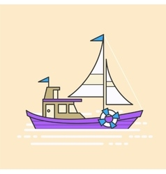 Cool line art flat design boat web icon vector image
