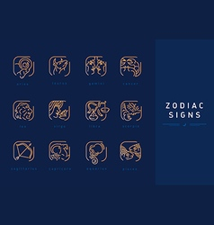 Set icons astrological signs of the zodiac vector