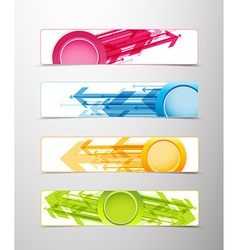 Set of four horizontal banners with arrows and vector image