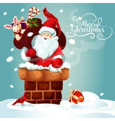 Christmas card of santa with gift bag on the roof vector