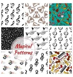 Music musical instruments seamless patterns set vector