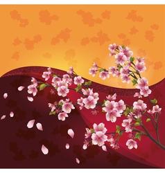 Sakura blossom Japanese cherry tree on bright vector image