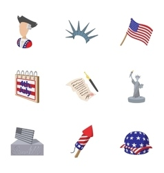 Independence day of usa icons set cartoon style vector