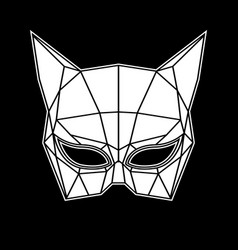 Black and white cat woman mask graphics triangles vector