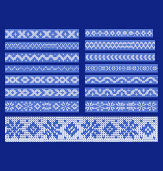 Set of knitted ornamental lines vector
