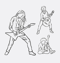 Guitarist musician male action hand drawing vector