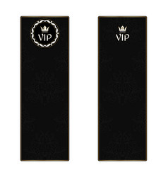 set of two black elegant vertical banners with a vector image