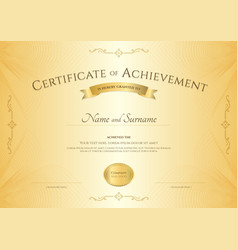 Elegant certificate of achievement template on vector