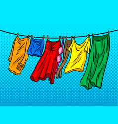 Clothes dries on a rope comic book style vector