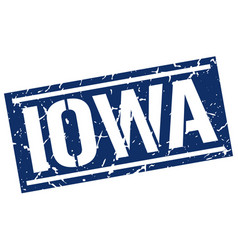 iowa blue square stamp vector image